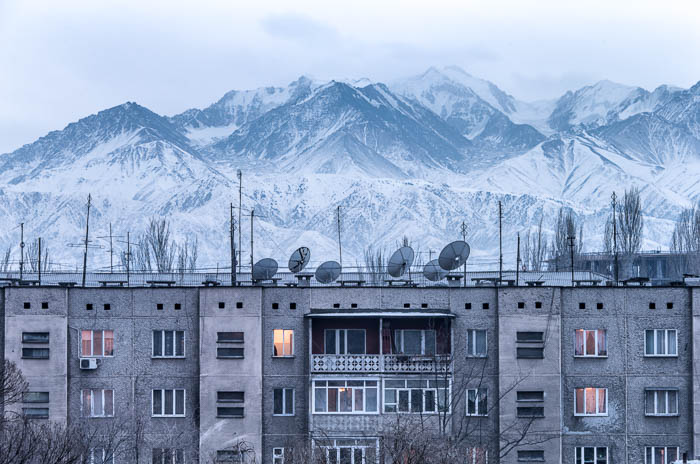 Bishkek apartments in front of Ala-Too mountain range (2014)